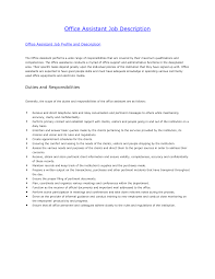 Medical Assistant Duties Resume Office Assistant Description For Resume 28 Images Office