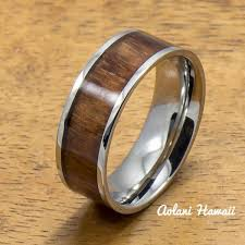 steel rings images Stainless steel ring with hawaiian koa wood 6mm 8mm width flat jpg
