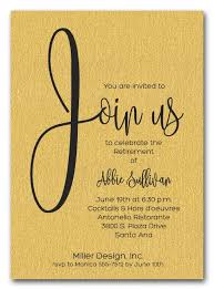retirement invitations shimmery gold join us retirement party invitations