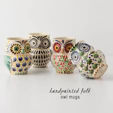 owl mug my owl barn anthropologie handpainted folk owl mug