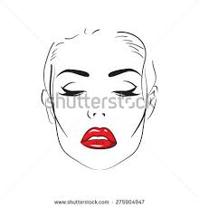 sketch womans face hand drawn makeup stock vector 275904947