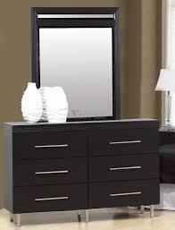 Black Oak Laminate Flooring Bedroom Furniture Modern Dresser With Mirror Contemporary Metal