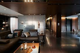 dark living room with cool textural contrast