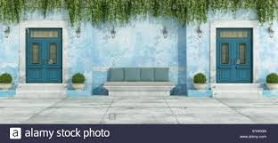 Front Door House Blue Country House With Two Front Door And Stone Bench 3d