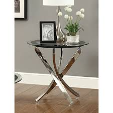 modern round end table amazon com coaster home furnishings modern contemporary round clear