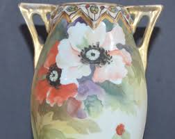 Nippon Hand Painted Vase Nippon Footed Vase Etsy