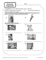 preposition worksheet picturing prepositions