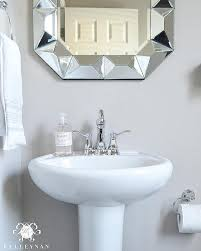 Pedestal Sink Sizes Powder Room Pedestal Sink With Geometric Mirror Transitional