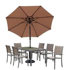 Patio Table With Umbrella Aluminum Patio Dining Furniture Patio Furniture The Home Depot