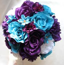turquoise flowers plum purple turquoise white roses and dreams