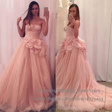 strapless pink wedding dress tulle blush princess ball gown plus