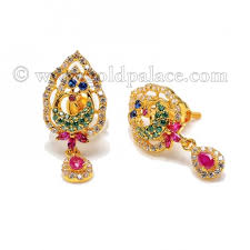 peacock design earrings earring with cz stones peacock design 22k gold gold jewelry