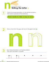 writing the letter n worksheet education com