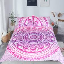 beddingoutlet pink mandala flower duvet cover set with pillowcase