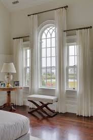 Arch Window Curtains These Staggered Sheers Are A Great Way To Draw Attention To The