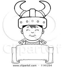 banner coloring pages cartoon clipart of a black and white happy ogre viking boy over a