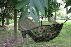 portable high strength 250cm x 120cm parachute fabric hammock tent