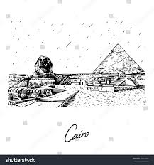 great sphinx pyramid giza cairo egypt stock vector 378814492