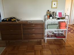hiding cables and cords in a mid century credenza studio style blog