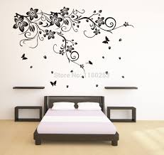 large green tree with cage big wall stickers decor for living room decor wall stickers large beautiful black white flower vine vinyl wall stickers large