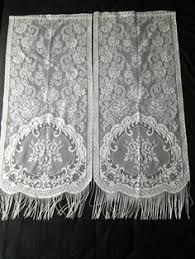 Bird Lace Curtains Pair French Vintage White Filet Lace Cafe Curtains Bird Cage