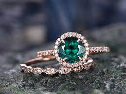 promise ring engagement ring wedding ring set 7mm emerald wedding ring set 14k gold promise ring for