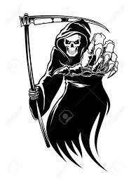 Monster For Halloween Black Death Monster With Scythe For Halloween Concept Royalty Free