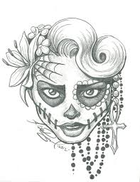 easy sugar skull drawings get coloring pages