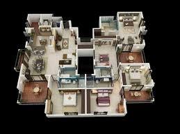4 br house plans 3d 4 bedroom house plans
