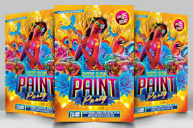 glow paint party glow paint party a4 flyer poster template by darkmonarch on