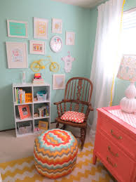 love this color combo aqua and coral nursery love the color