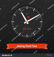 black designer clock face red seconds stock vector 249887671