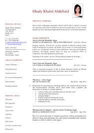 Clinical Pharmacist Resume Ghady Abdellatif Cv