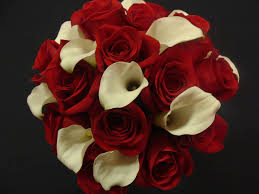 love it red rose wedding bouquet accented with sparkling crystals