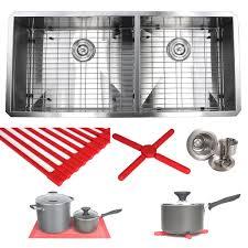 42 inch kitchen sink ariel 42 inch stainless steel double bowl 60 40 zero radius 16 gauge