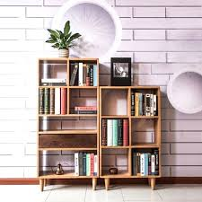 White Wood Bookcases Bookcase Asymmetrical Open Modern Wood Bookcase Modern White