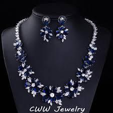 blue stone necklace earrings images Cwwzircons blue cz bridal jewelry big cubic zirconia stone flower jpg