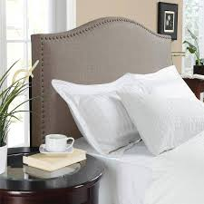 Headboards And Beds Oatmeal Full Queen Upholstered Linen Fabric Bed Headboard Nailhead