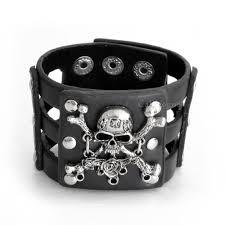 skull bracelet leather images Rose skull bracelet black leather callvogue jpg