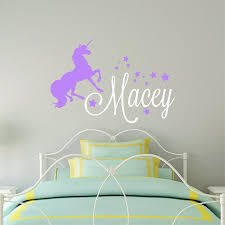 amazon com wall stickers handmade products custom name unicorn wall decal girls personalized name unicorn wall sticker custom name sign custom name stencil monogram girls room wall decor