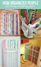 orginized how to organize wrapping paper