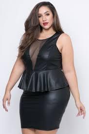 peplum dress plus size faux leather peplum dress black curvy sense