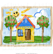 clip art of a yellow house and sunshine childs drawing by r