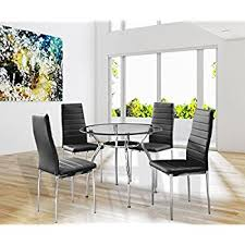 Dining Room Glass Table Sets Amazon Com 5 Piece Glass Dining Table Set 4 Leather Chairs