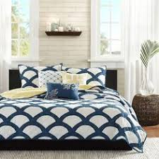 Geometric Coverlet Queen Navy White Yellow Geometric Cotton 6 Piece Quilt Coverlet