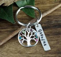personalized birthstone keychains family tree keychain personalized birthstone keychain