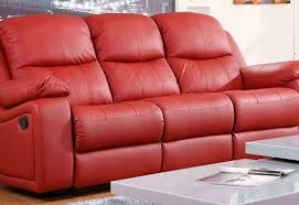 montreal rosso red reclining 3 3 seater leather sofa set