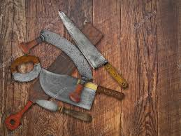 vintage kitchen knives collage over old wood u2014 stock photo