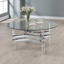 clear glass base table l furniture round acrylic side table coaster coffee table in chrome