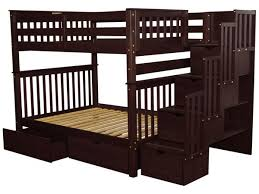 bunk beds full over full stairway cappuccino 2 drawers 1115